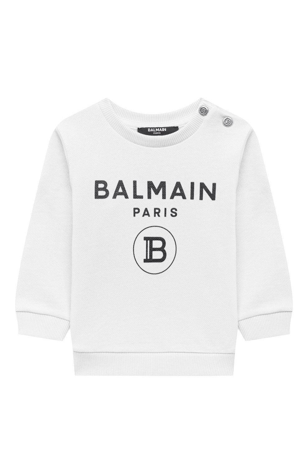 Детский хлопковый свитшот BALMAIN белого цвета, арт. 6O4A10   Фото 1 (Рукава: Длинные; Материал внешний: Хлопок; Ростовка одежда: 12 мес   80 см, 18 мес   86 см, 24 мес   92 см, 36 мес   98 см, 9 мес   74 см)