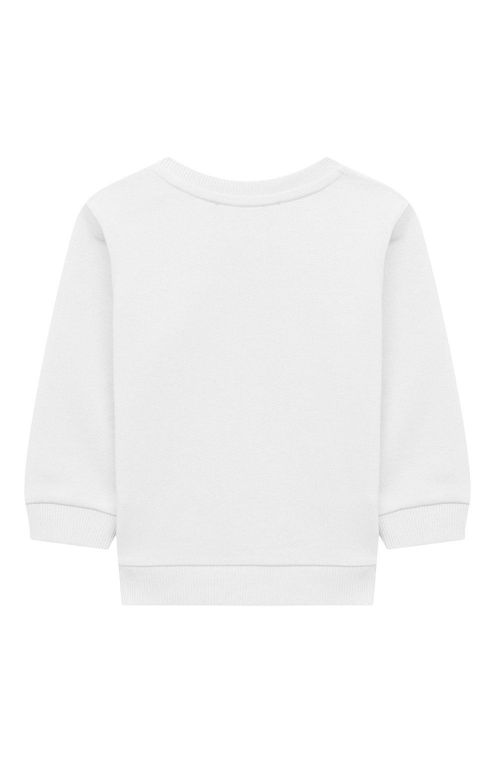 Детский хлопковый свитшот BALMAIN белого цвета, арт. 6O4A10   Фото 2 (Рукава: Длинные; Материал внешний: Хлопок; Ростовка одежда: 12 мес   80 см, 18 мес   86 см, 24 мес   92 см, 36 мес   98 см, 9 мес   74 см)