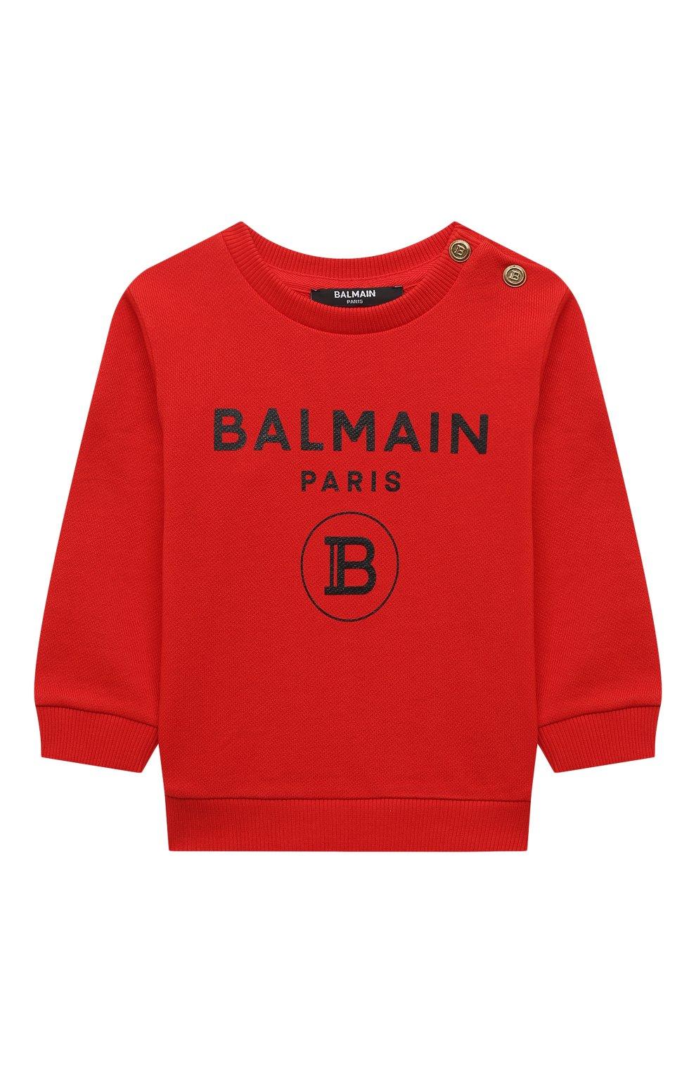 Детский хлопковый свитшот BALMAIN красного цвета, арт. 6O4A10 | Фото 1