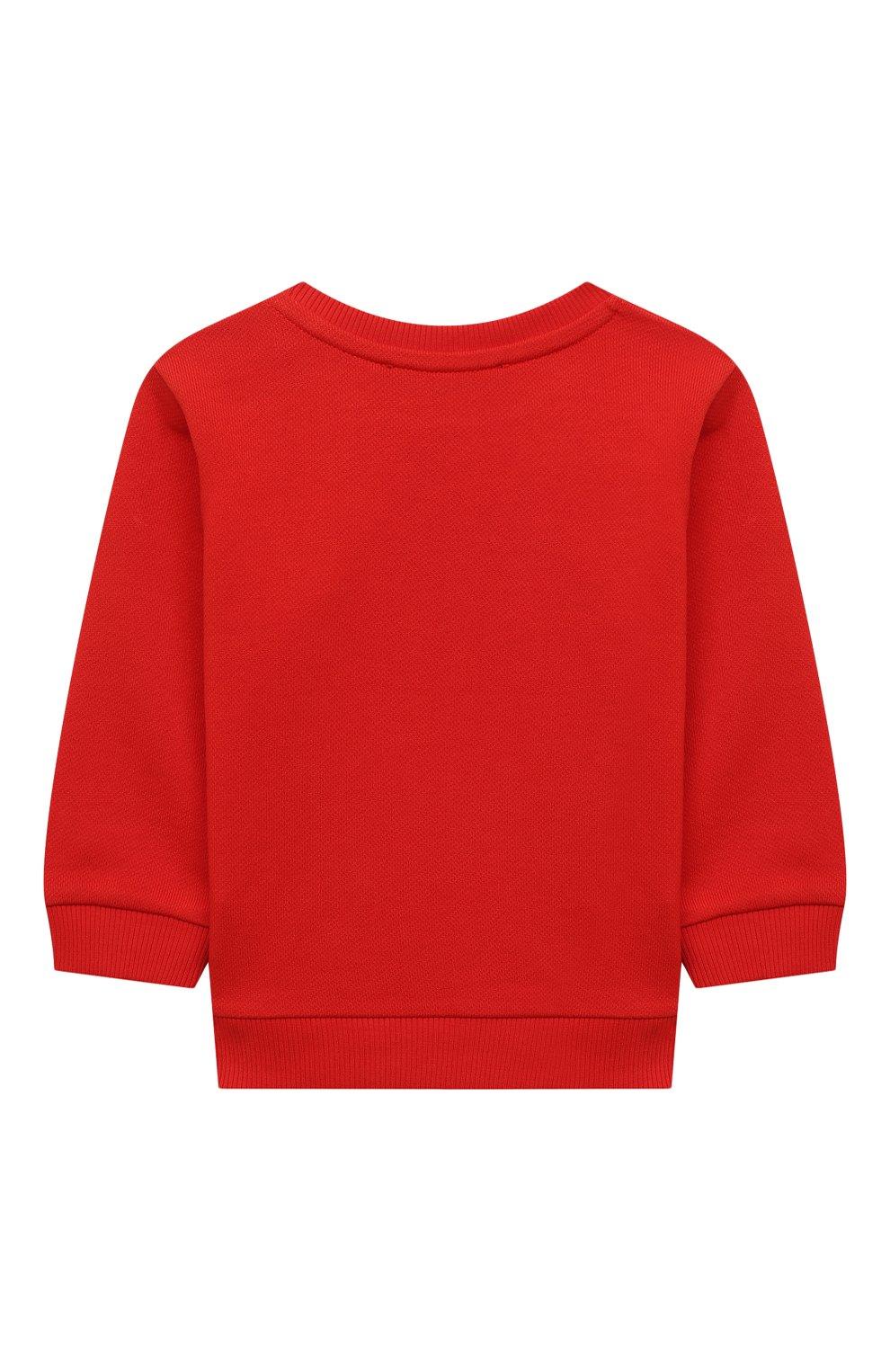 Детский хлопковый свитшот BALMAIN красного цвета, арт. 6O4A10 | Фото 2
