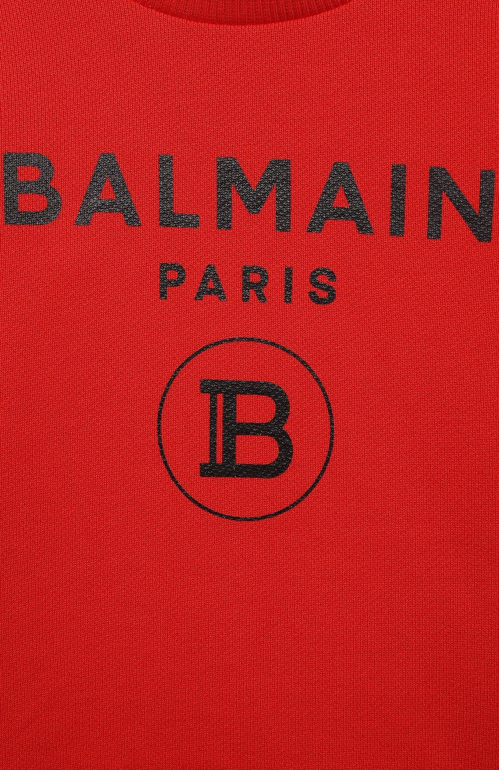 Детский хлопковый свитшот BALMAIN красного цвета, арт. 6O4A10 | Фото 3