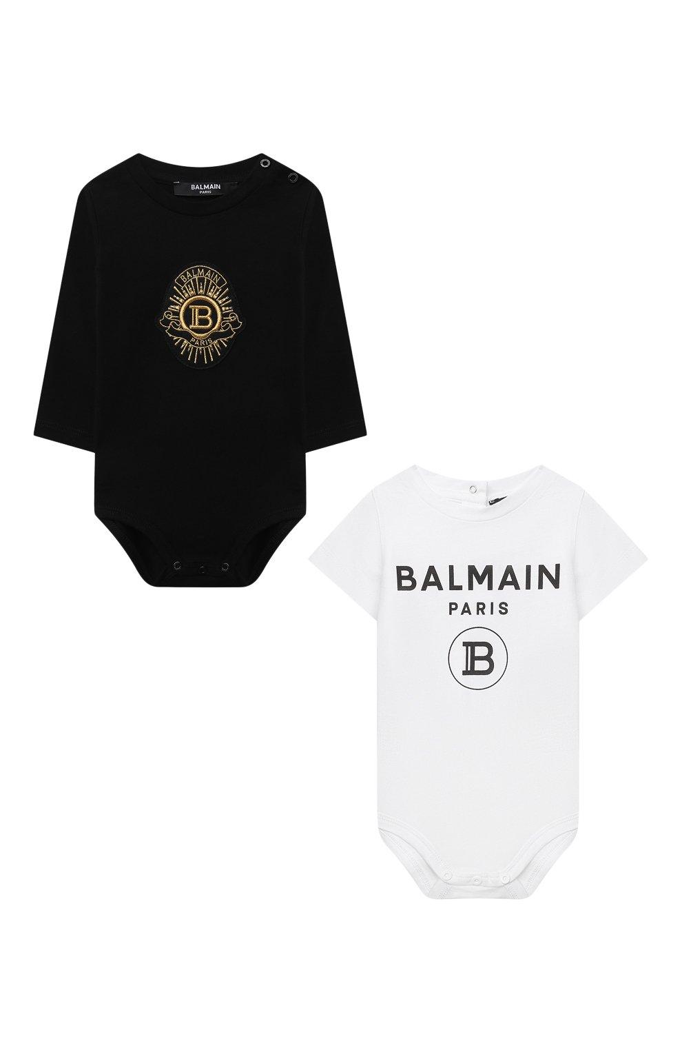 Детское комплект из двух боди BALMAIN черного цвета, арт. 6O8A10   Фото 1