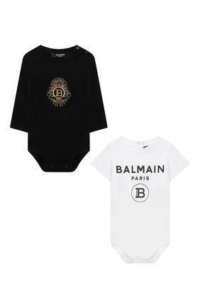 Детское комплект из двух боди BALMAIN черного цвета, арт. 6O8A10 | Фото 1
