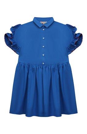 Детское хлопковое платье EMILIO PUCCI синего цвета, арт. 9O1141 | Фото 1 (Рукава: Короткие; Случай: Повседневный; Материал внешний: Хлопок; Девочки Кросс-КТ: Платье-одежда; Ростовка одежда: 10 - 11 лет | 140 - 146см, 12 лет | 152 см, 13 - 15 лет | 158 см, 4 года | 104 см, 6 лет | 116 см, 8 лет | 128 см)