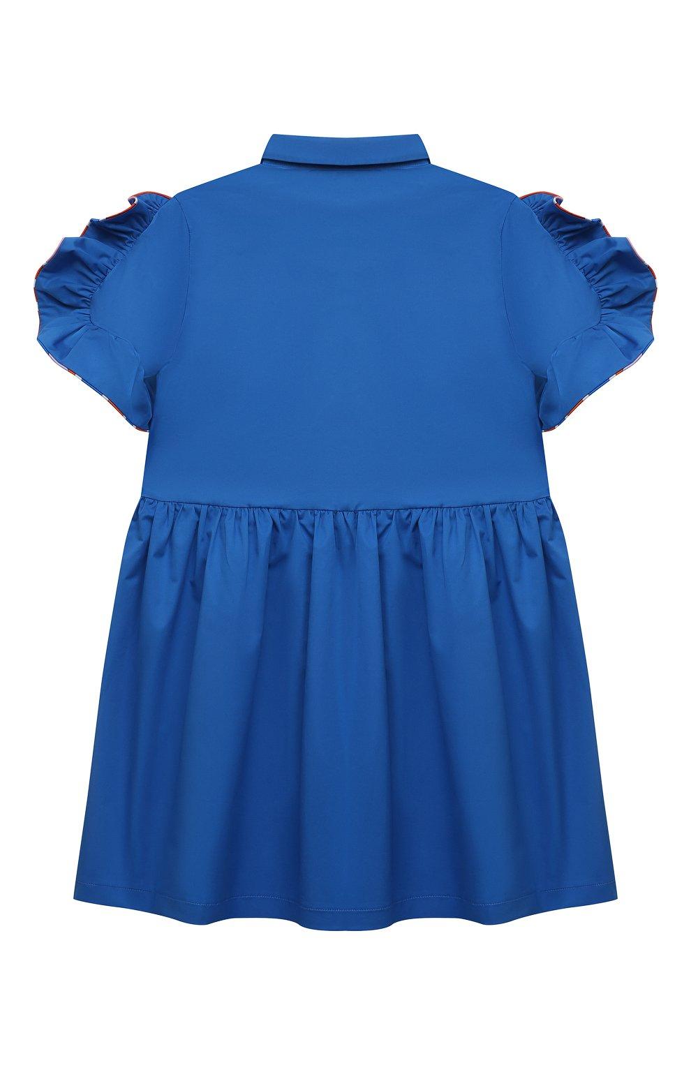 Детское хлопковое платье EMILIO PUCCI синего цвета, арт. 9O1141 | Фото 2 (Рукава: Короткие; Случай: Повседневный; Материал внешний: Хлопок; Девочки Кросс-КТ: Платье-одежда; Ростовка одежда: 10 - 11 лет | 140 - 146см, 12 лет | 152 см, 13 - 15 лет | 158 см, 4 года | 104 см, 6 лет | 116 см, 8 лет | 128 см)