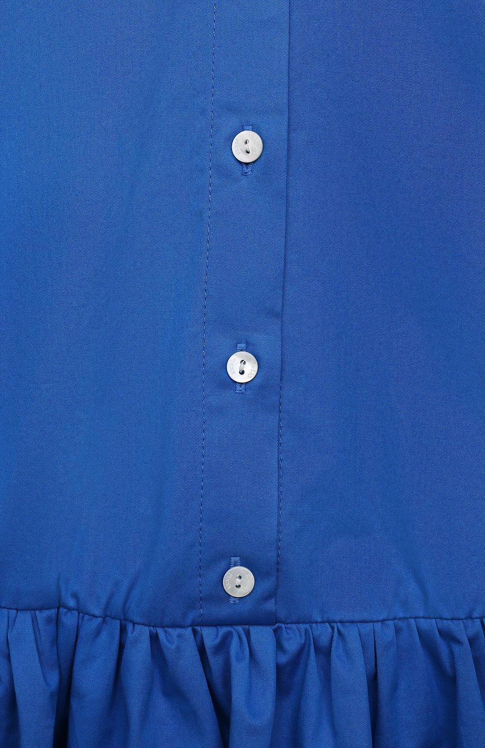 Детское хлопковое платье EMILIO PUCCI синего цвета, арт. 9O1141 | Фото 3 (Рукава: Короткие; Случай: Повседневный; Материал внешний: Хлопок; Девочки Кросс-КТ: Платье-одежда; Ростовка одежда: 10 - 11 лет | 140 - 146см, 12 лет | 152 см, 13 - 15 лет | 158 см, 4 года | 104 см, 6 лет | 116 см, 8 лет | 128 см)
