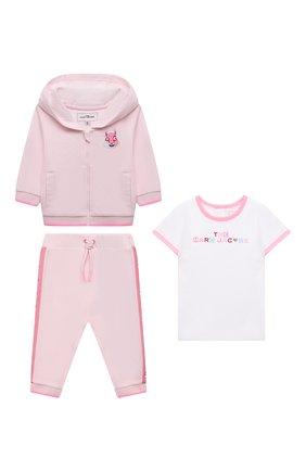 Детский комплект из трех предметов MARC JACOBS (THE) розового цвета, арт. W98132 | Фото 1