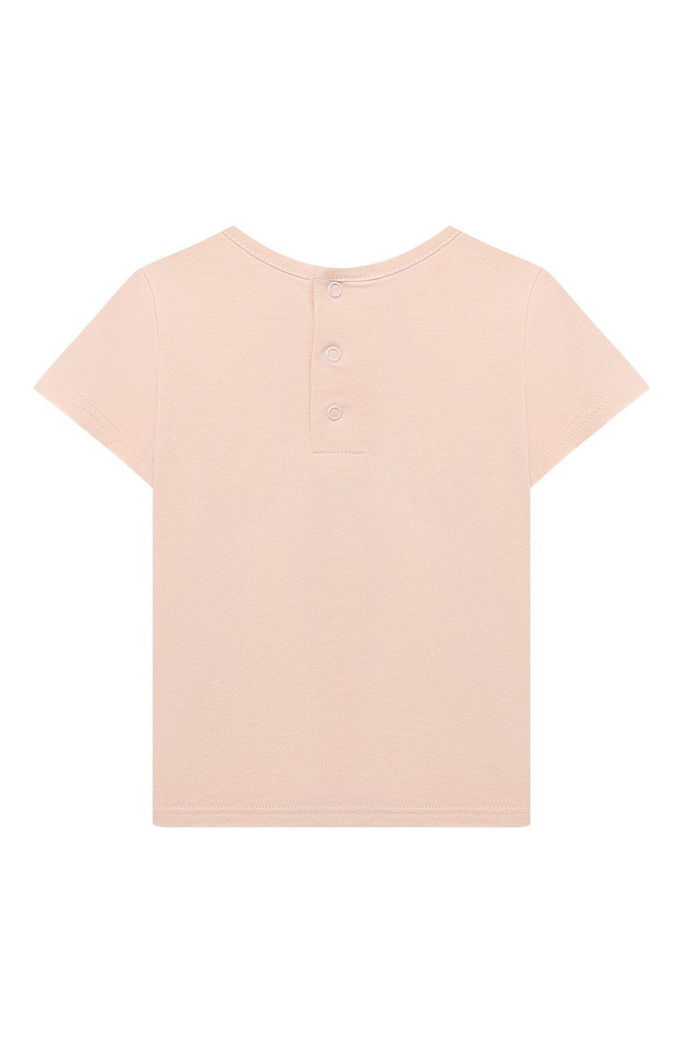 Детский хлопковая футболка CHLOÉ розового цвета, арт. C05367 | Фото 2
