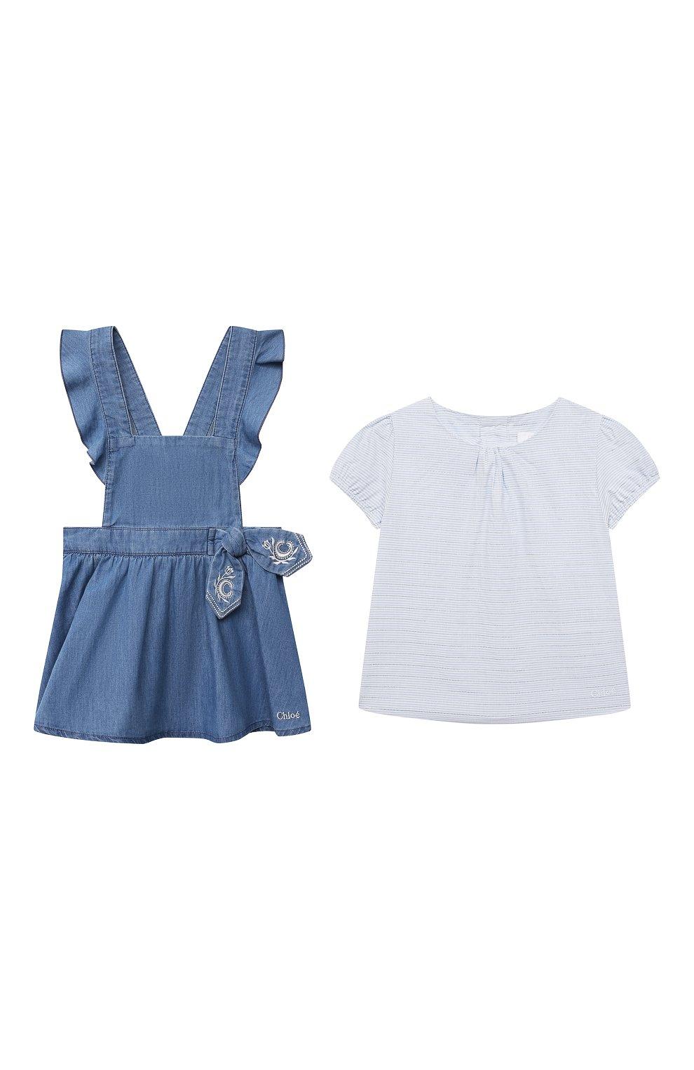 Женский комплект из футболки с сарафаном CHLOÉ голубого цвета, арт. C08039 | Фото 1