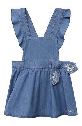 Женский комплект из футболки с сарафаном CHLOÉ голубого цвета, арт. C08039 | Фото 4