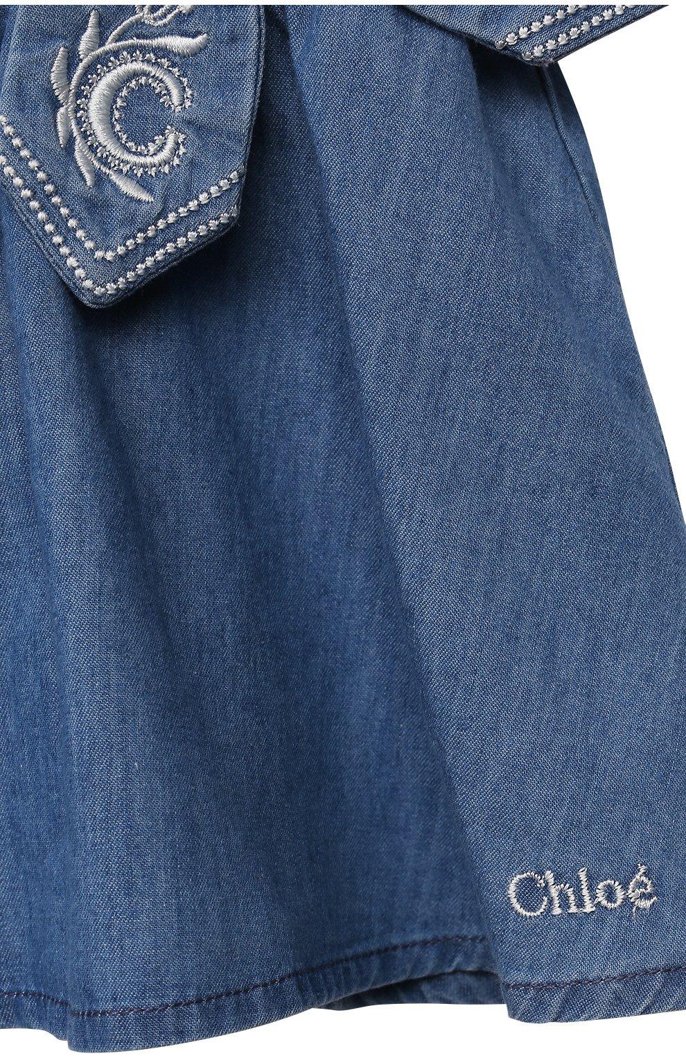 Женский комплект из футболки с сарафаном CHLOÉ голубого цвета, арт. C08039 | Фото 7
