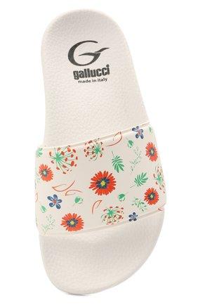 Детский шлепанцы GALLUCCI белого цвета, арт. J10104AM/SA G0M VSI   Фото 4 (Материал внешний: Экокожа; Материал внутренний: Текстиль)