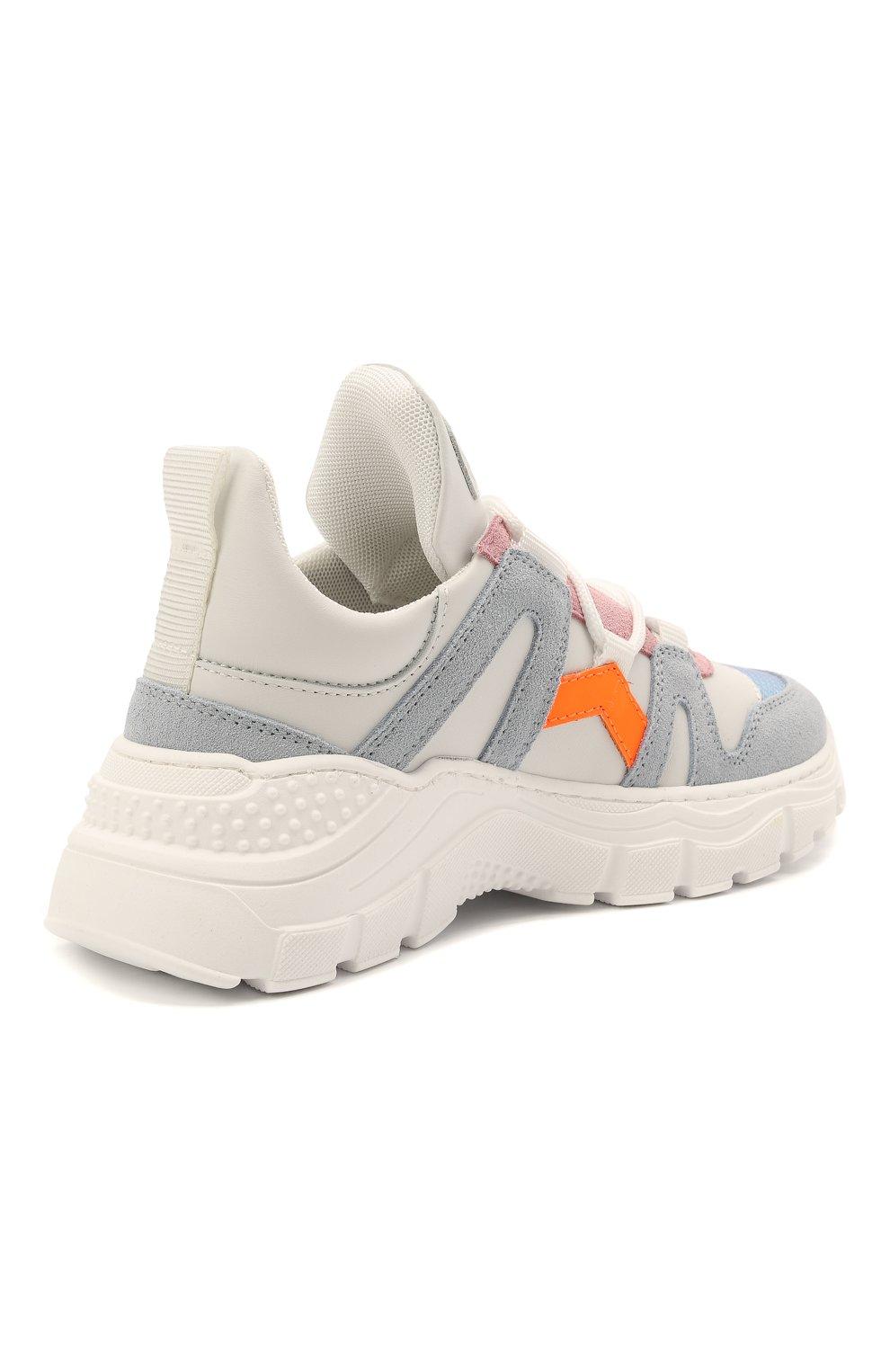 Детские кожаные кроссовки GALLUCCI белого цвета, арт. J20168MM/SC T T G0M VEL/TTE/KY0   Фото 3 (Материал внутренний: Натуральная кожа, Текстиль; Стили: Гранж)