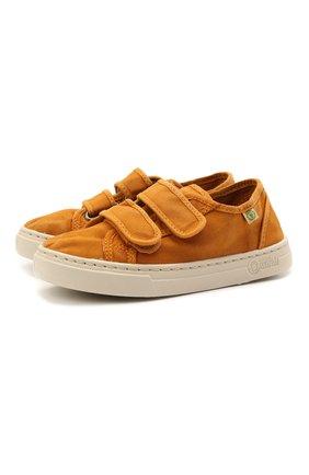 Детские кеды NATURAL WORLD оранжевого цвета, арт. 6471E | Фото 1 (Материал внутренний: Текстиль; Материал внешний: Текстиль; Кросс-КТ: велькро)