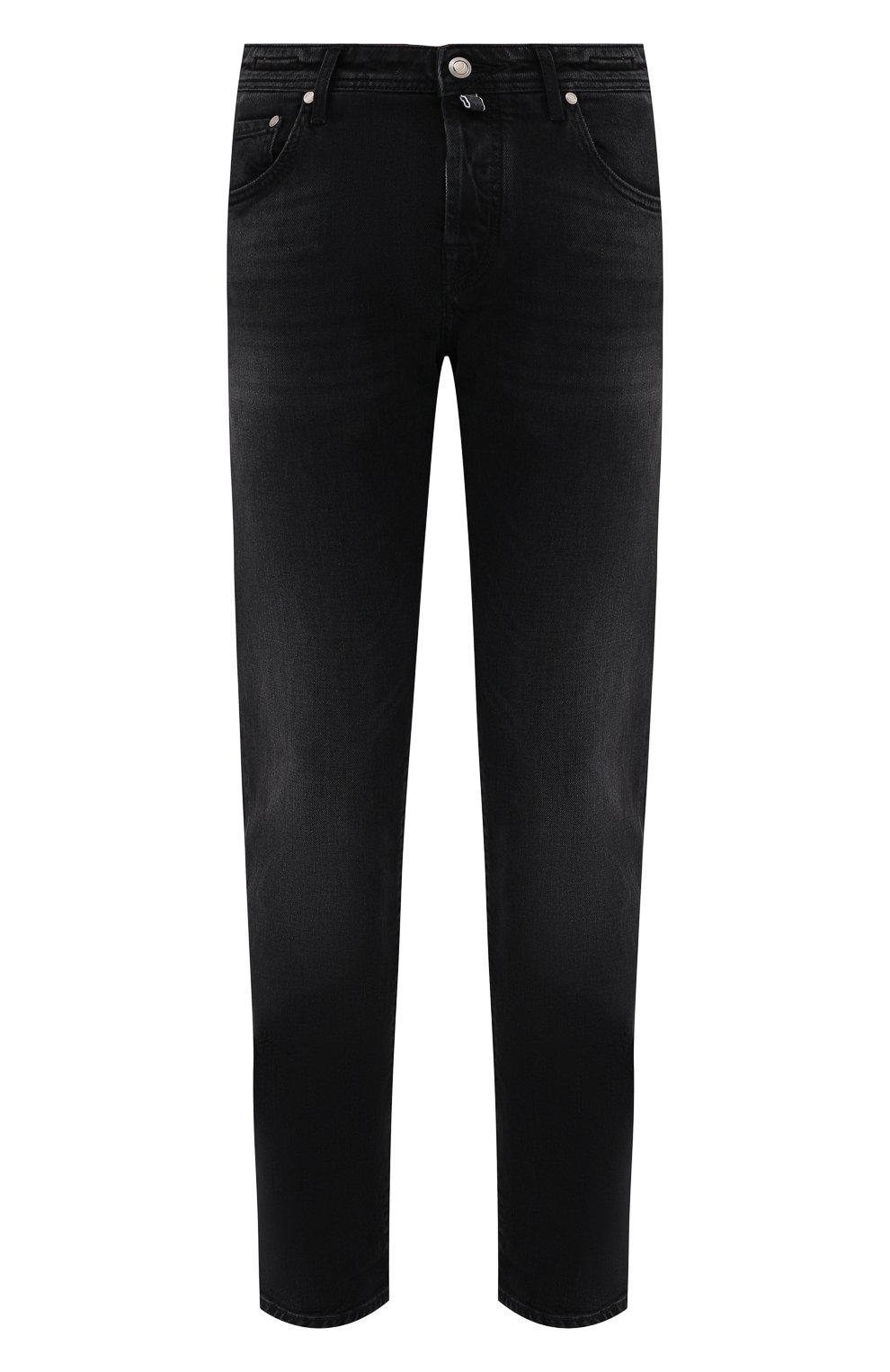 Мужские джинсы JACOB COHEN черного цвета, арт. J620 LIMITED C0MF 02041-W2/55   Фото 1 (Силуэт М (брюки): Прямые; Кросс-КТ: Деним; Длина (брюки, джинсы): Стандартные; Материал внешний: Хлопок; Стили: Кэжуэл)