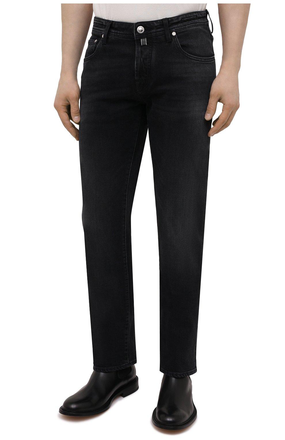 Мужские джинсы JACOB COHEN черного цвета, арт. J620 LIMITED C0MF 02041-W2/55   Фото 3 (Силуэт М (брюки): Прямые; Кросс-КТ: Деним; Длина (брюки, джинсы): Стандартные; Материал внешний: Хлопок; Стили: Кэжуэл)
