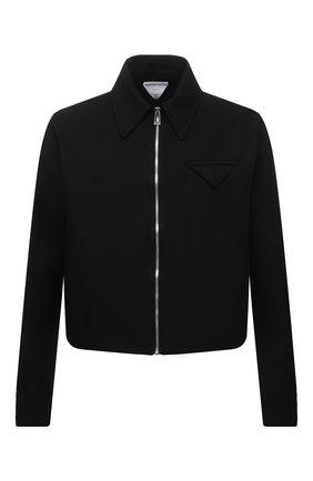 Мужская хлопковая куртка BOTTEGA VENETA черного цвета, арт. 646907/V0BT0   Фото 1 (Материал подклада: Вискоза; Материал внешний: Хлопок; Кросс-КТ: Куртка, Ветровка; Рукава: Длинные; Стили: Минимализм; Длина (верхняя одежда): Короткие)