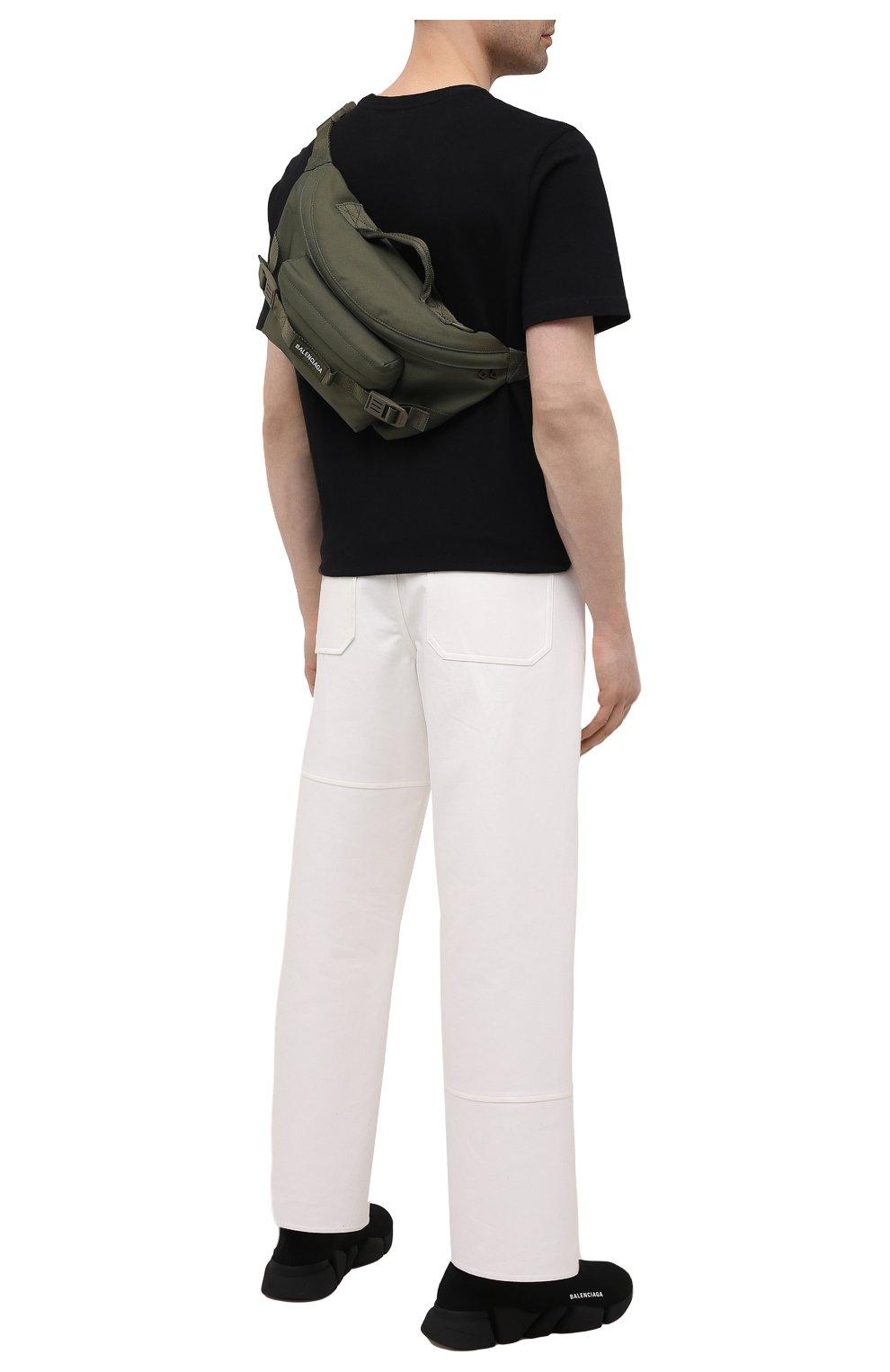 Мужская текстильная поясная сумка army BALENCIAGA хаки цвета, арт. 644035/2BKPI   Фото 2 (Ремень/цепочка: На ремешке; Материал: Текстиль)