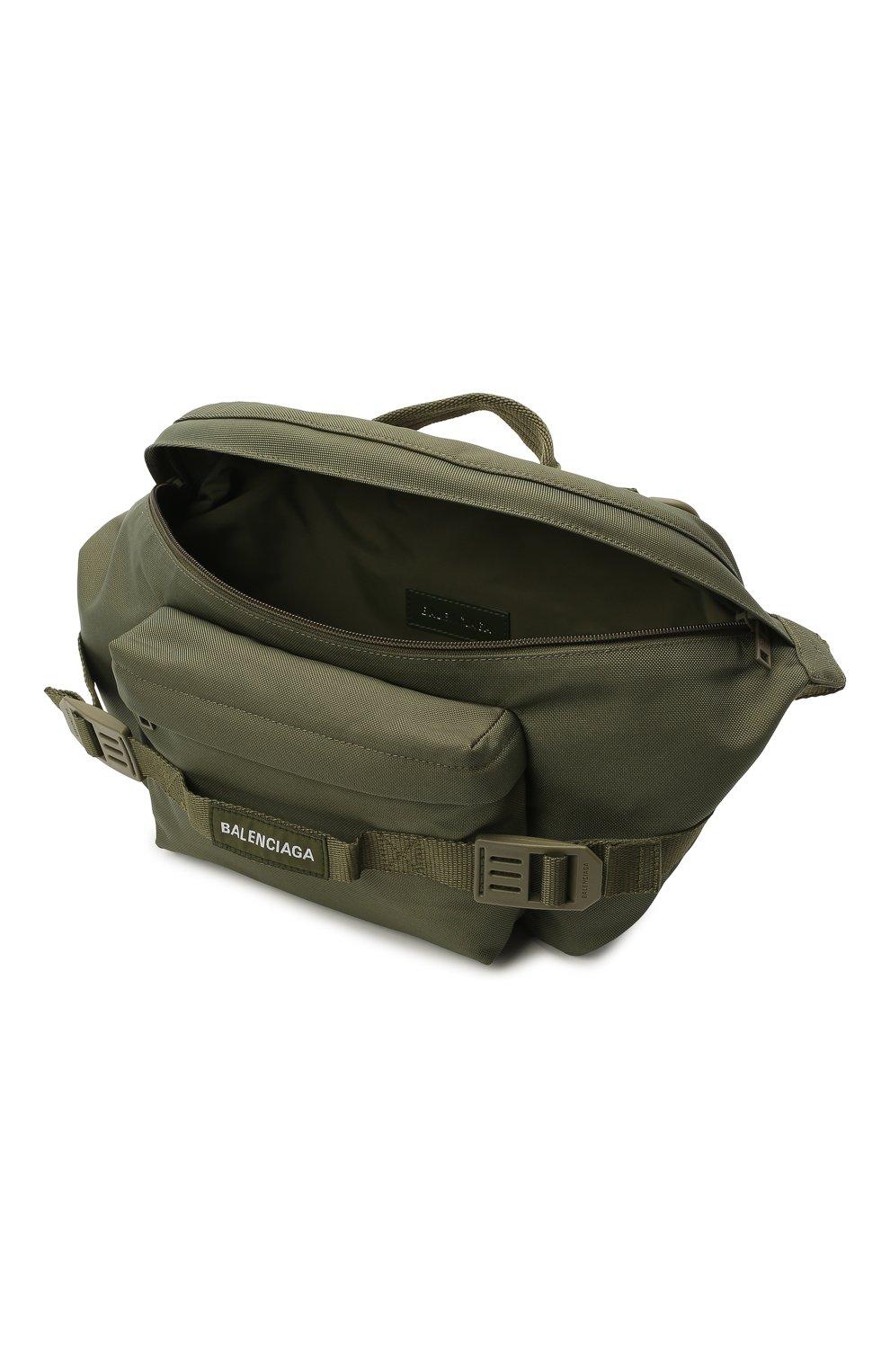 Мужская текстильная поясная сумка army BALENCIAGA хаки цвета, арт. 644035/2BKPI   Фото 4 (Ремень/цепочка: На ремешке; Материал: Текстиль)