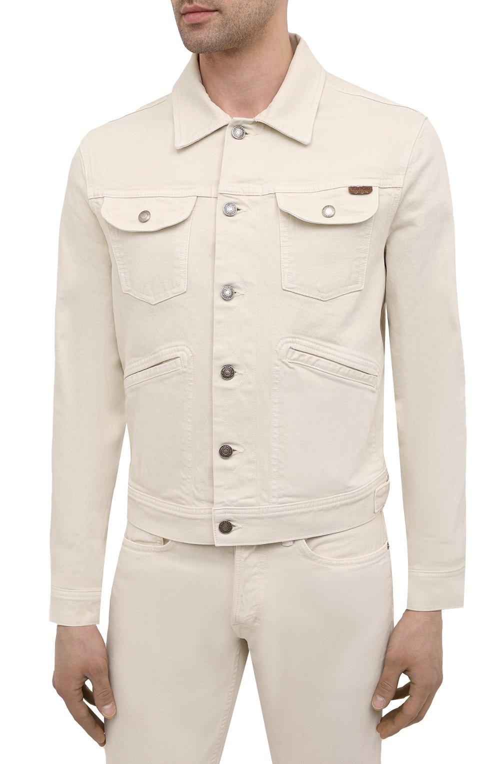 Мужская джинсовая куртка TOM FORD светло-бежевого цвета, арт. BWJ32/TFD116 | Фото 3