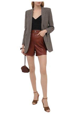 Женские кожаные босоножки scandale SAINT LAURENT коричневого цвета, арт. 662269/2Y900 | Фото 2 (Материал внутренний: Натуральная кожа; Каблук высота: Высокий; Каблук тип: Устойчивый; Подошва: Плоская)