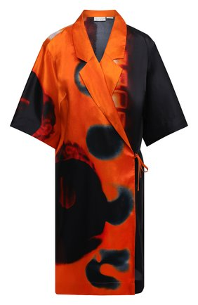 Женское платье из вискозы DRIES VAN NOTEN оранжевого цвета, арт. 211-10713-2068   Фото 1 (Женское Кросс-КТ: Платье-одежда; Случай: Повседневный; Материал внешний: Вискоза; Рукава: 3/4; Стили: Кэжуэл; Длина Ж (юбки, платья, шорты): До колена)