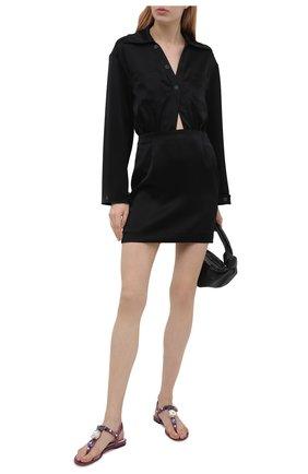 Женские кожаные сандалии devotion DOLCE & GABBANA сиреневого цвета, арт. CQ0294/B5830 | Фото 2 (Материал внутренний: Натуральная кожа; Подошва: Плоская; Каблук высота: Низкий)