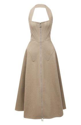 Женское льняное платье BOTTEGA VENETA бежевого цвета, арт. 656377/V00E0 | Фото 1