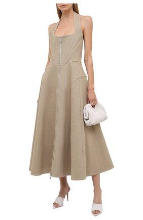 Женское льняное платье BOTTEGA VENETA бежевого цвета, арт. 656377/V00E0 | Фото 2