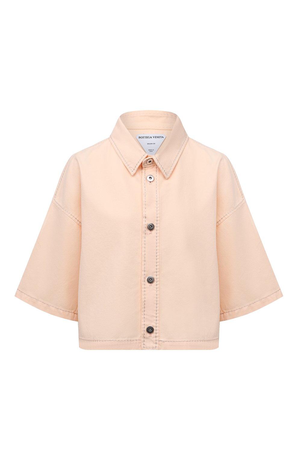 Женская хлопковая рубашка BOTTEGA VENETA светло-розового цвета, арт. 654323/V0W30 | Фото 1