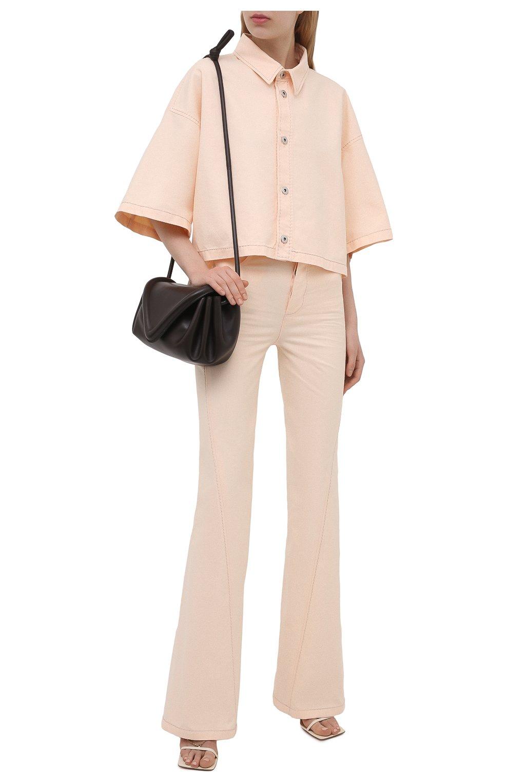 Женская хлопковая рубашка BOTTEGA VENETA светло-розового цвета, арт. 654323/V0W30 | Фото 2
