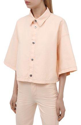 Женская хлопковая рубашка BOTTEGA VENETA светло-розового цвета, арт. 654323/V0W30 | Фото 3