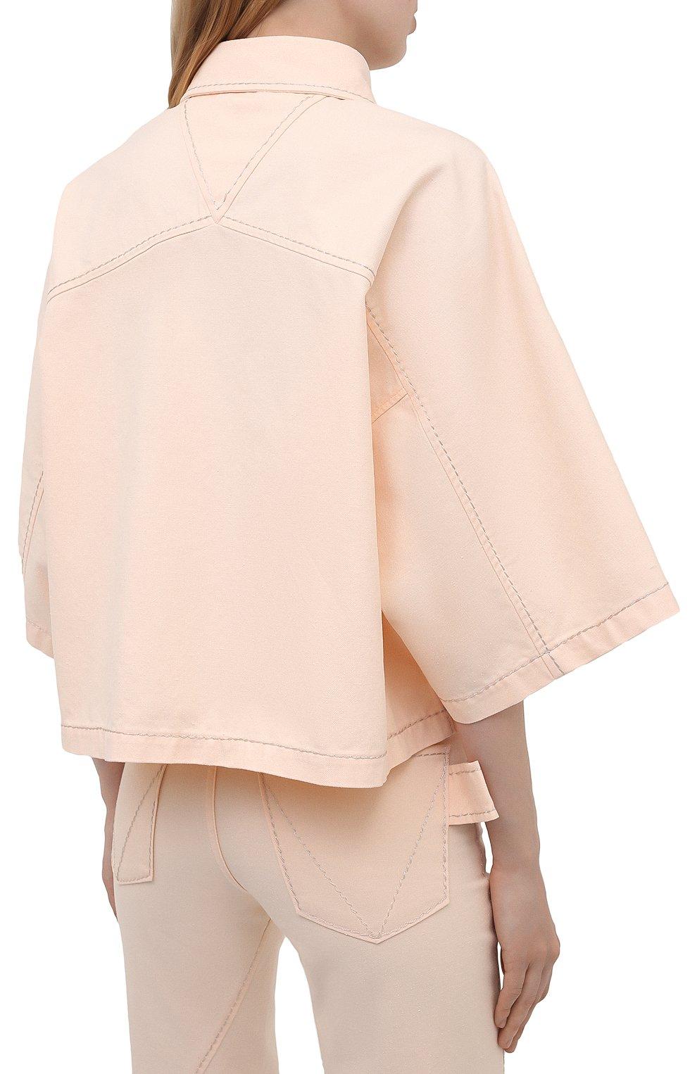 Женская хлопковая рубашка BOTTEGA VENETA светло-розового цвета, арт. 654323/V0W30 | Фото 4
