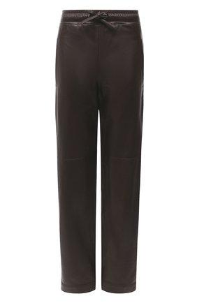 Женские кожаные брюки BRUNELLO CUCINELLI темно-коричневого цвета, арт. MPTANP7754   Фото 1