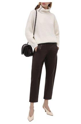 Женские кожаные брюки BRUNELLO CUCINELLI темно-коричневого цвета, арт. MPTANP7754   Фото 2