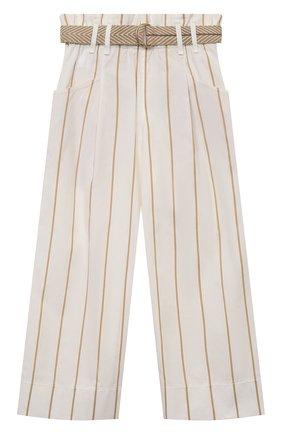 Детские хлопковые брюки BRUNELLO CUCINELLI белого цвета, арт. BF786P024A | Фото 1 (Девочки Кросс-КТ: Брюки-одежда; Материал внешний: Хлопок; Ростовка одежда: 4 года | 104 см, 6 лет | 116 см)