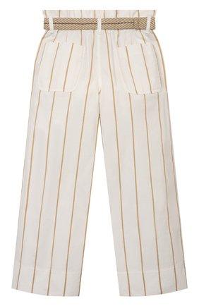 Детские хлопковые брюки BRUNELLO CUCINELLI белого цвета, арт. BF786P024A | Фото 2 (Девочки Кросс-КТ: Брюки-одежда; Материал внешний: Хлопок; Ростовка одежда: 4 года | 104 см, 6 лет | 116 см)