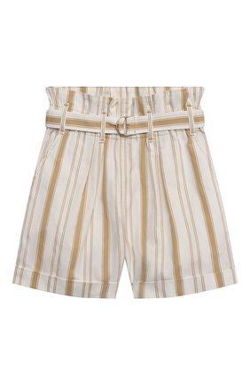 Детские хлопковые шорты BRUNELLO CUCINELLI бежевого цвета, арт. BF788P032A   Фото 1 (Девочки Кросс-КТ: Шорты-одежда; Материал внешний: Хлопок; Ростовка одежда: 4 года   104 см, 6 лет   116 см)