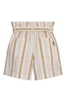 Детские хлопковые шорты BRUNELLO CUCINELLI бежевого цвета, арт. BF788P032A   Фото 2 (Девочки Кросс-КТ: Шорты-одежда; Материал внешний: Хлопок; Ростовка одежда: 4 года   104 см, 6 лет   116 см)
