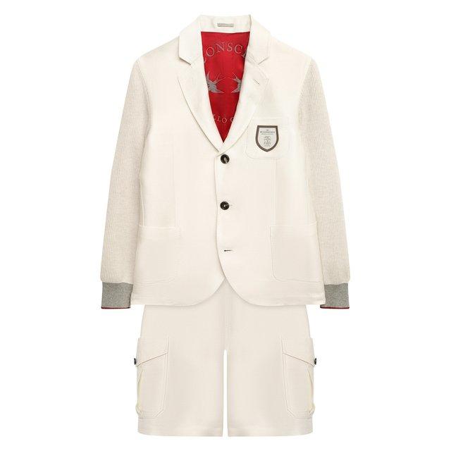 Костюм из пиджака и шорт Brunello Cucinelli. Цвет: бежевый