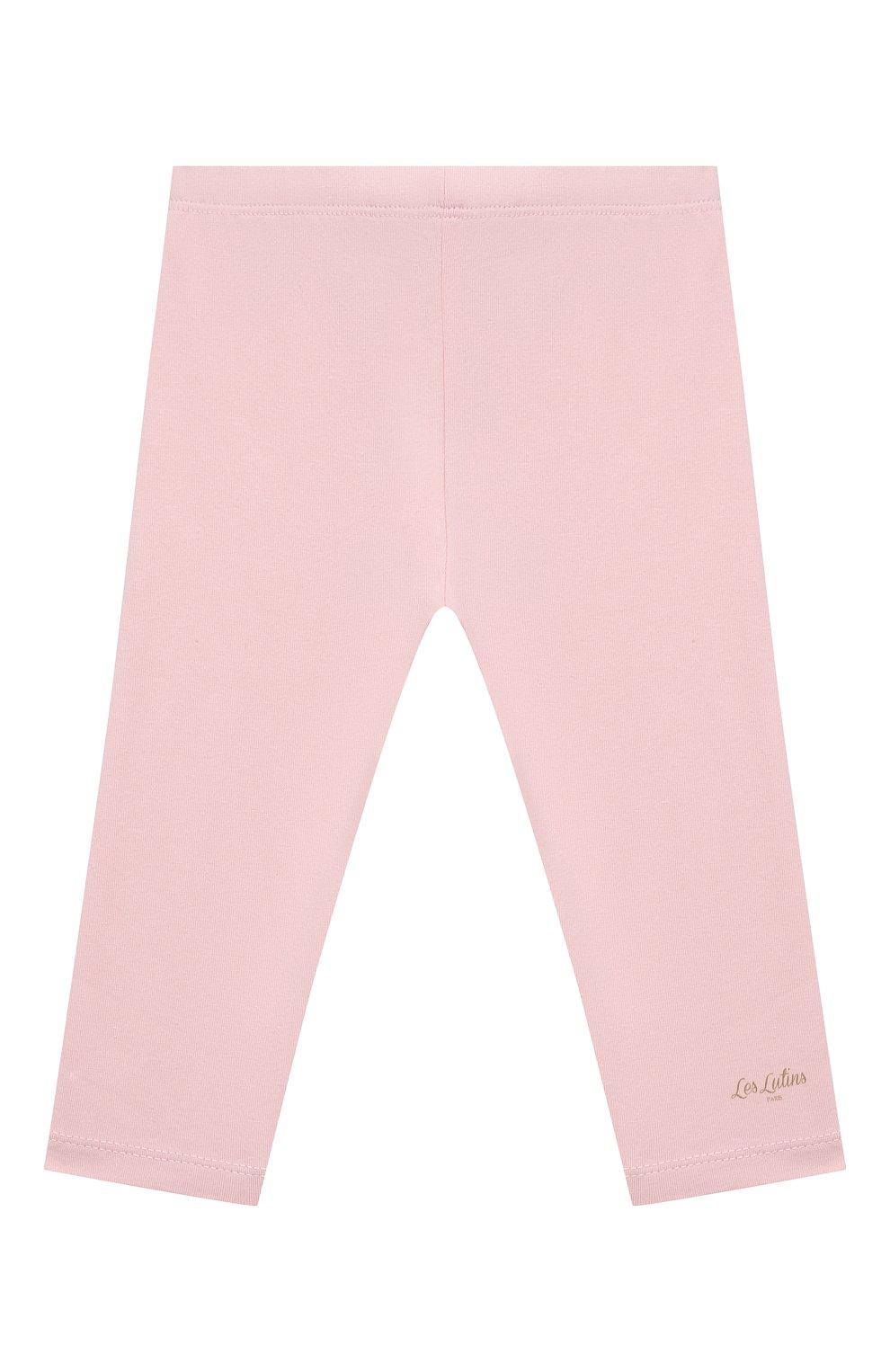 Детские хлопковые брюки LES LUTINS PARIS светло-розового цвета, арт. 21E357/LEGGING JERSEY   Фото 1 (Материал внешний: Хлопок; Ростовка одежда: 9 мес   74 см, 18 мес   86 см, 24 мес   92 см, 3 мес   62 см, 6 мес   68 см)