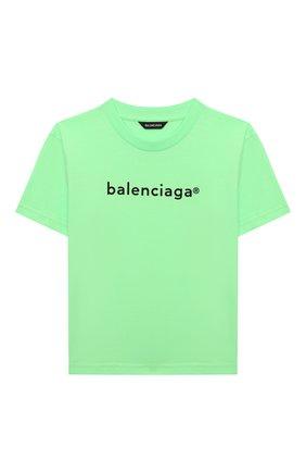 Детская хлопковая футболка BALENCIAGA зеленого цвета, арт. 556155/TJVM1   Фото 1