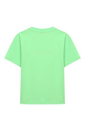 Детская хлопковая футболка BALENCIAGA зеленого цвета, арт. 556155/TJVM1   Фото 2