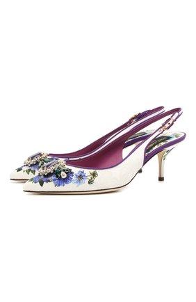 Женские кожаные туфли DOLCE & GABBANA разноцветного цвета, арт. CG0450/B9M99 | Фото 1 (Каблук тип: Шпилька; Материал внутренний: Натуральная кожа; Материал внешний: Текстиль; Подошва: Плоская; Каблук высота: Средний)