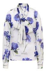 Женская шелковая блузка DOLCE & GABBANA голубого цвета, арт. I7K34W/GDZAT   Фото 1