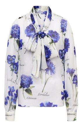 Женская шелковая блузка DOLCE & GABBANA голубого цвета, арт. I7K34W/GDZAT | Фото 1