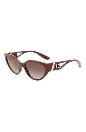 Женские солнцезащитные очки DOLCE & GABBANA бордового цвета, арт. 6146-32858G | Фото 1 (Тип очков: С/з; Очки форма: Cat-eye; Оптика Гендер: оптика-женское)