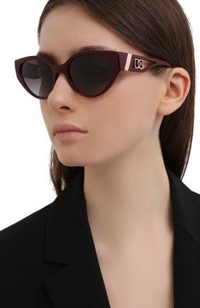 Женские солнцезащитные очки DOLCE & GABBANA бордового цвета, арт. 6146-32858G | Фото 2 (Тип очков: С/з; Очки форма: Cat-eye; Оптика Гендер: оптика-женское)
