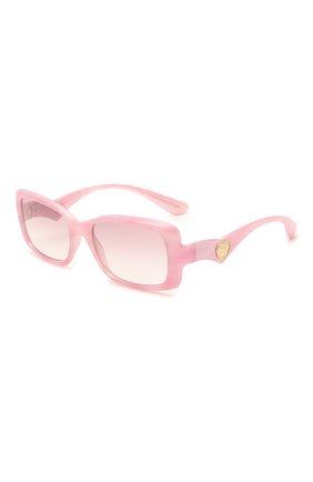 Женские солнцезащитные очки DOLCE & GABBANA розового цвета, арт. 6152-330084 | Фото 1 (Тип очков: С/з; Оптика Гендер: оптика-женское; Очки форма: Прямоугольные)