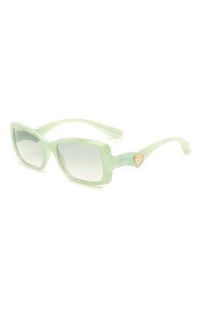 Женские солнцезащитные очки DOLCE & GABBANA светло-зеленого цвета, арт. 6152-3301/2 | Фото 1 (Тип очков: С/з; Оптика Гендер: оптика-женское; Очки форма: Прямоугольные)